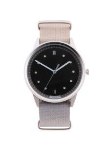 Pánske hodinky v striebornej farbe s textilným remienkom HYPERGRAND