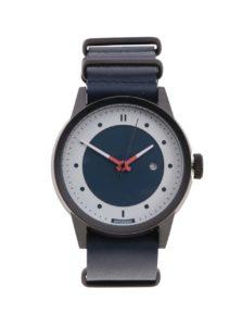 Čierne pánske hodinky s tmavomodrým koženým remienkom HYPERGRAND