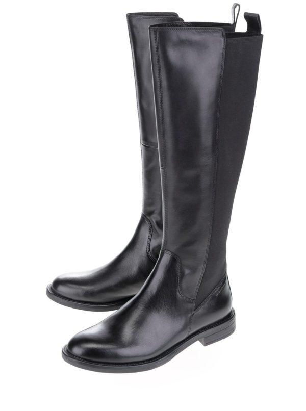 Čierne dámske kožené čižmy s gumovou vsadkou Vagabond Amina