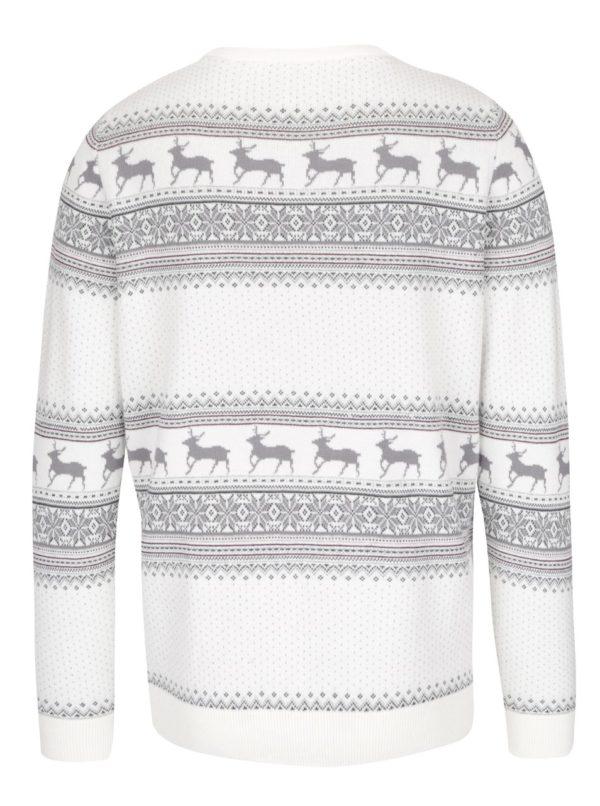Krémový sveter so vzorom Selected Homme New Reindeer