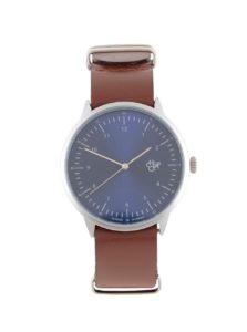Unisex hodinky v striebornej farbe s hnedým koženým remienkom CHPO Harold Navy Metal