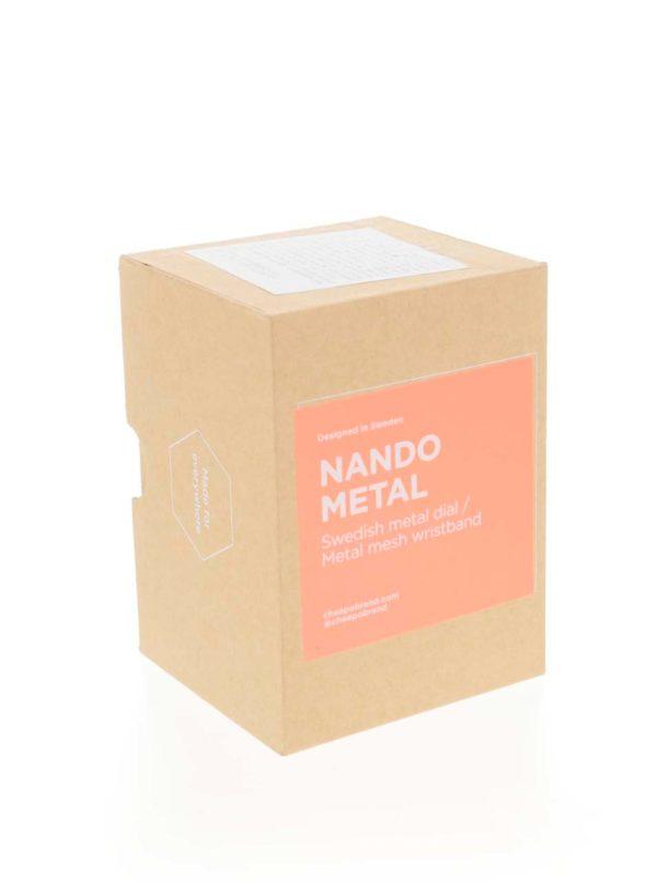 Čierne unisex hodinky s nerezovým remienkom CHPO Nando Metal