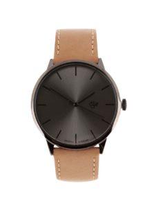Tmavosivé unisex hodinky so svetlohnedým remienkom z vegánskej kože Cheapo Khorshid Funk