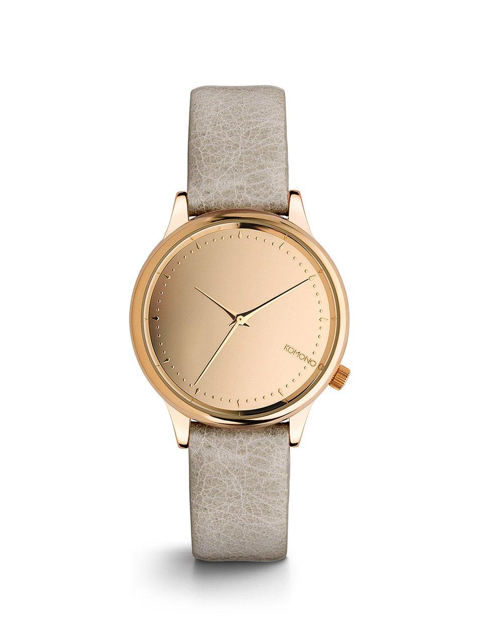 9374e2cbd1c5 Dámske hodinky v ružovozlatej farbe so sivým koženým remienkom Komono  Estelle Mirror