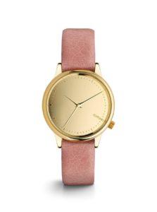 Dámske hodinky v zlatej farbe s ružovým koženým remienkom Komono Estelle Mirror