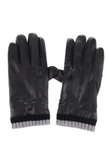 Čierne pánske kožené rukavice s úpletom Portland 8a8ea711b5