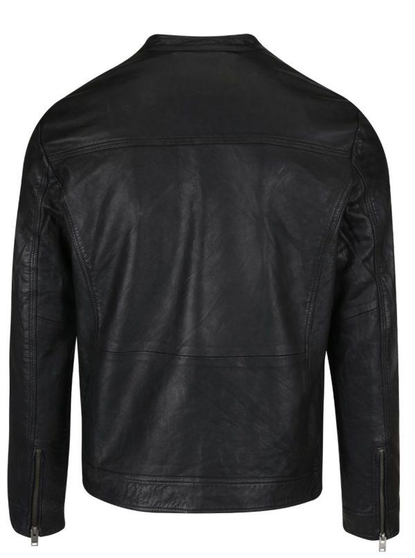 Čierna kožená bunda Selected Homme New Tylor