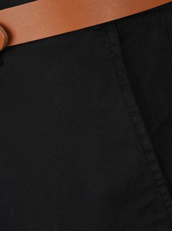 Čierne slim chino nohavice s hnedým opaskom Selected Homme Hyard