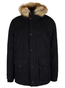 Čierna bunda s kapucňou a umelou kožušinou Burton Menswear London