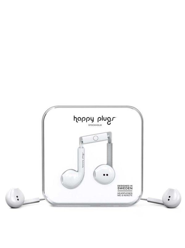 Biele Earbud plus slúchadlá Happy Plugs