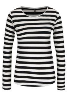 Čierno-biele pruhované tričko s dlhým rukávom Haily´s Tina