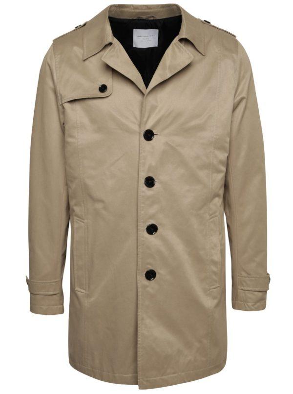 Béžový kabát Selected Homme New Adams