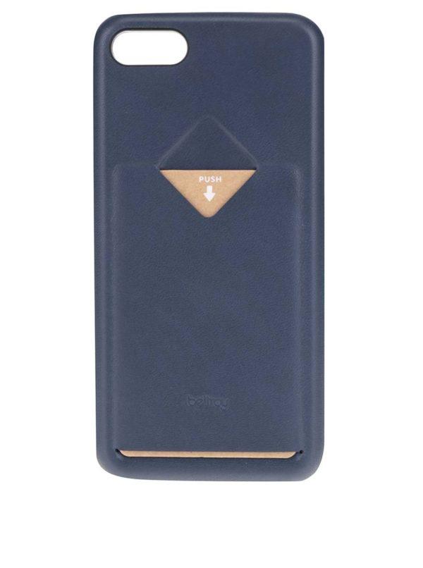 Tmavomodrý kožený kryt pre iPhone 7 s priehradkou na platobnú kartu Bellroy
