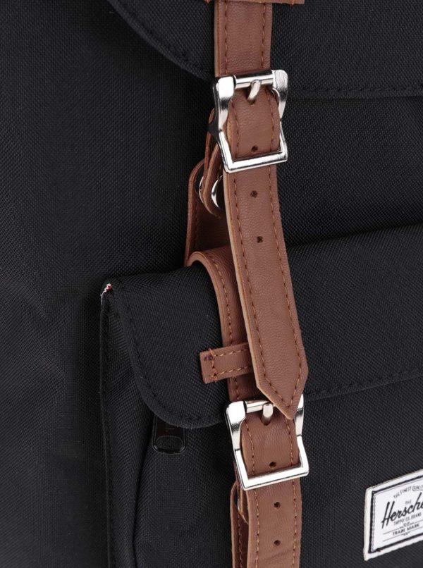 Čierny batoh s hnedými popruhmi Herschel Little America 25 l