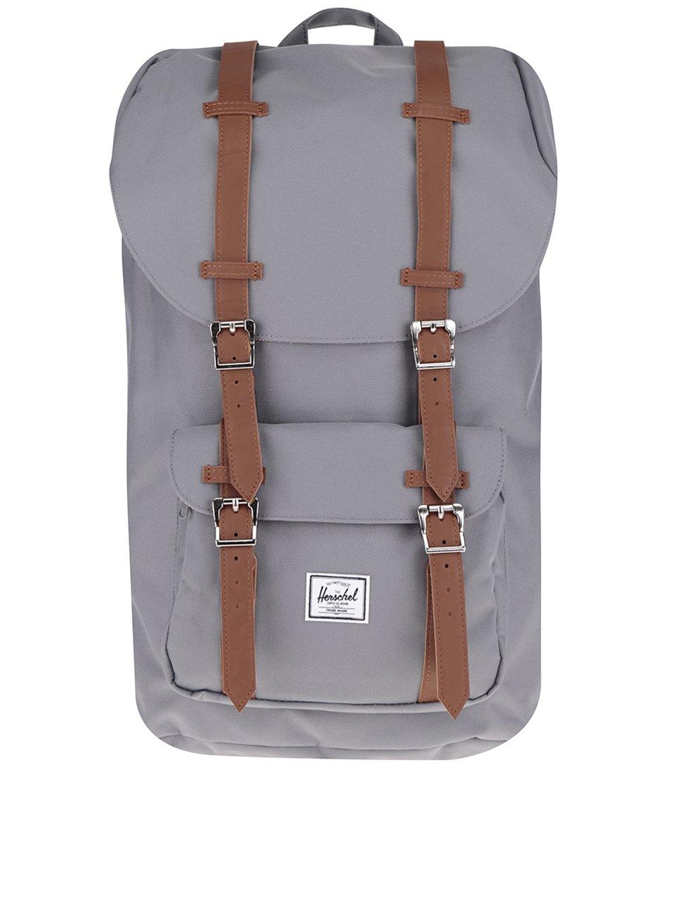 39c2e67b6a Sivý batoh s hnedými popruhmi Herschel Little America 25 l