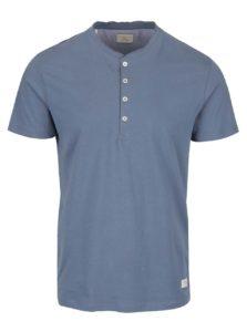 Sivomodré tričko s gombíkmi Selected Homme Niklas