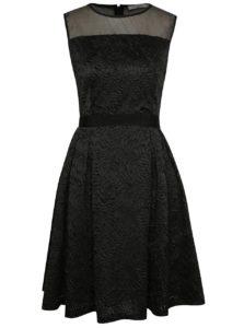 Čierne vzorované šaty s priesvitnou hornou časťou Darling Claris