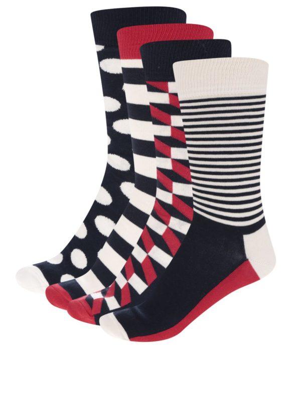 Súprava štyroch párov ponožiek v červenej, modrej a krémovej farbe Happy Socks Dot Gift Box