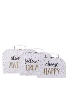 Súprava troch bodkovaných kufríkov v bielej farbe Sass & Belle