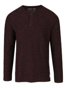 Čierno-vínové melírované tričko s gombíkmi a dlhým rukávom Jack & Jones Sebastian