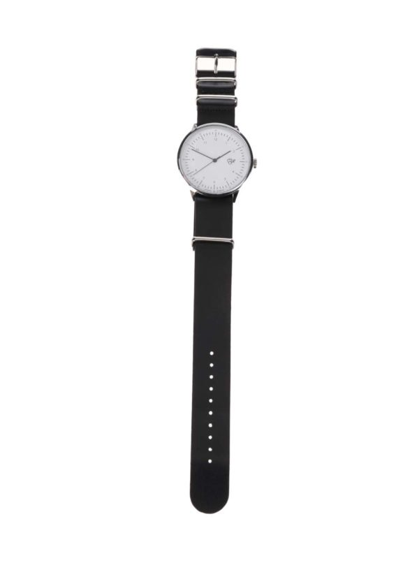 Pánske hodinky v striebornej farbe s čiernym koženým remienkom CHPO Harold