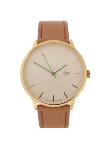 Pánske hodinky v zlatej farbe s hnedým remienkom z vegánskej kože CHPO Nawroz