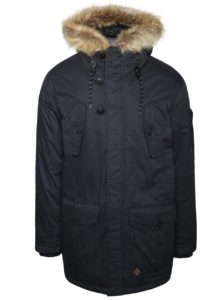 Tmavomodrá bunda s vreckami a umelým kožúškom Burton Menswear London