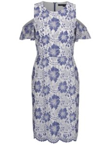 Modro-biele čipkované šaty French Connection Antonia
