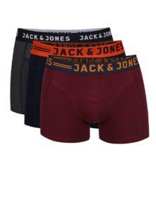 Sada troch boxeriek v sivej, vínovej a tmavomodrej farbe Jack & Jones Lichfield