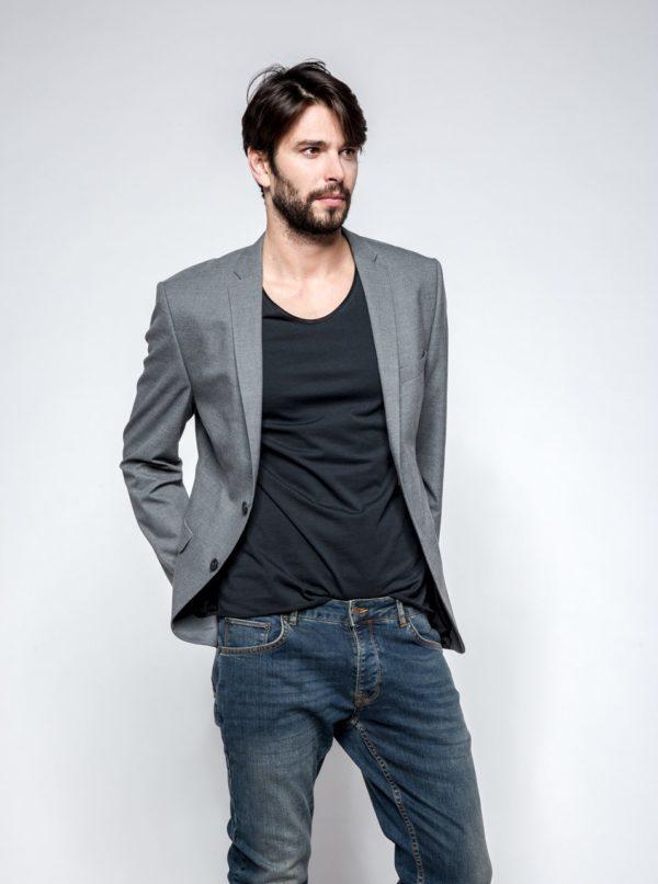 Sivé oblekové sako Selected Homme New One