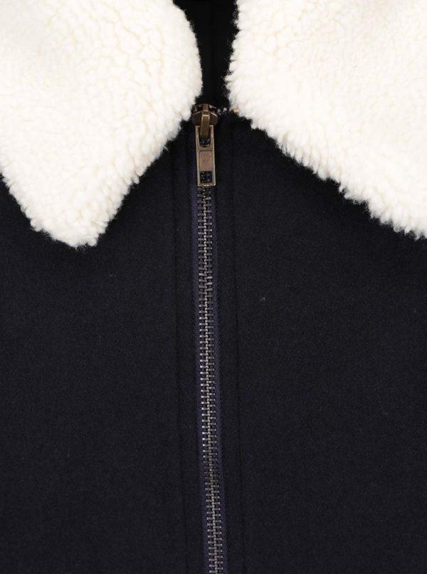 Tmavomodrá vlnená bunda s golierom Burton Menswear London