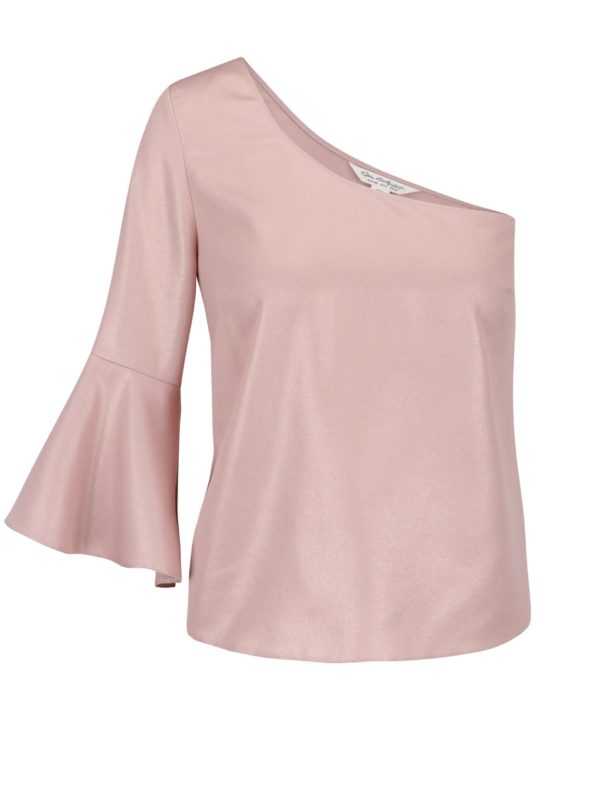 Svetlo-ružový crop top na jedno rameno Miss Selfridge