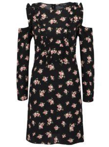 Čierne kvetované šaty s prestrihmi na ramenách Miss Selfridge