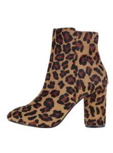 Hnedé členkové topánky s leopardím vzorom Miss Selfridge Dee
