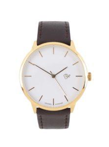 Unisex hodinky v zlatej farbe s tmavohnedým remienkom z vegánskej kože CHPO Khorshid Gold