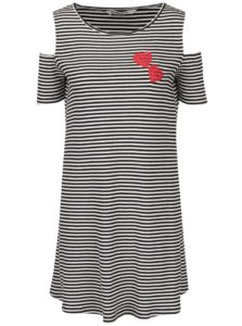 Krémovo-čierne voľné pruhované šaty s prestrihmi na ramenách Desigual Leile
