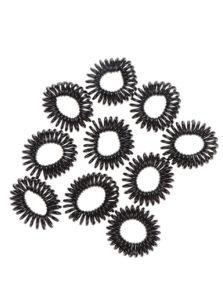 Sada desiatich špirálových gumičiek v čiernej farbe Pieces Spiral