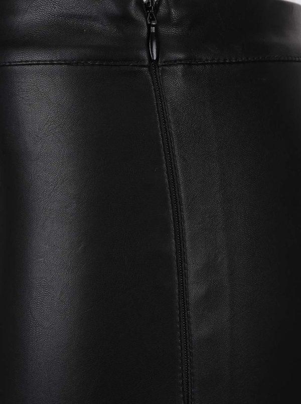 Čierne lesklé koženkové legíny Miss Selfridge