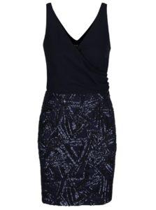 Tmavomodré minišaty s flitrovanou sukňou AX Paris