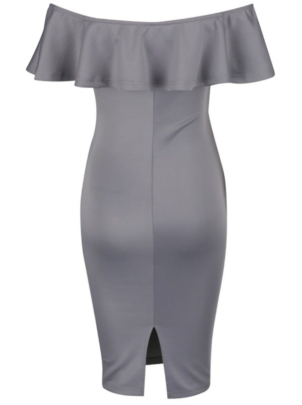 Sivé puzdrové šaty s odhalenými ramenami a volánom AX Paris  e1c82720a84
