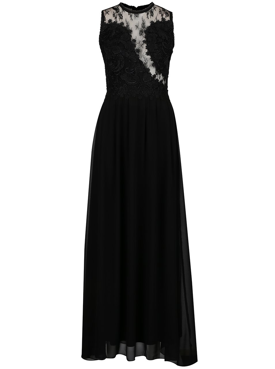 65519fc29ee3 Čierne dlhé šaty s čipkovanou hornou časťou a priesvitnými detailmi AX Paris