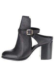 Čierne kožené topánky na podpätku Miss Selfridge