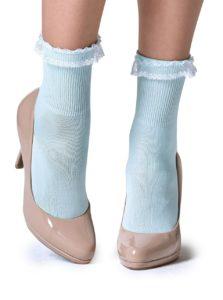 Svetlomodré ponožky s čipkou Gipsy