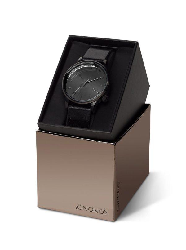 Čierne unisex hodinky s koženým remienkom Komono Winston Mirror
