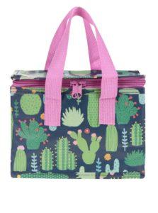 Modro-zelený box na jedlo s potlačou kaktusov Sass & Belle