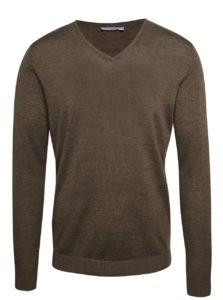 Hnedý melírovaný sveter z Merino vlny Selected Homme Tower