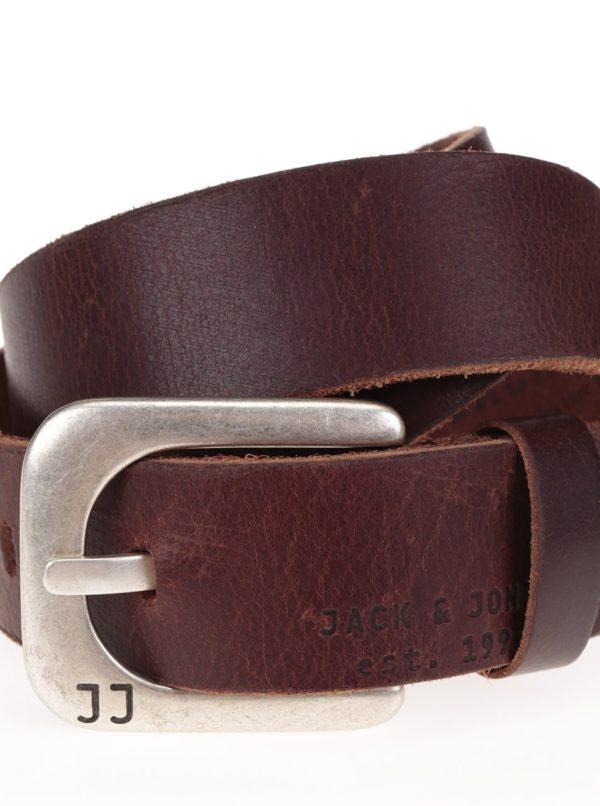Hnedý kožený opasok Jack & Jones Max