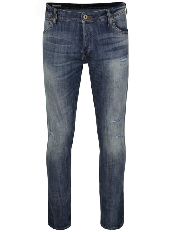 Modré slim fit rifle s potrhaným efektom Jack & Jones Glenn