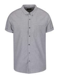 Sivá košeľa s jemným vzorom a krátkym rukávom Burton Menswear London