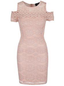 Ružové čipkované šaty s prestrihmi na ramenách AX Paris